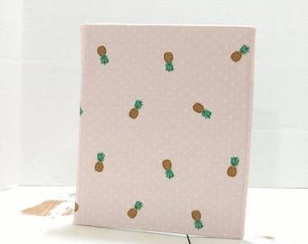 JW ministry organizer, service folder, Pineapple print, leaf fabric, pink polka dot, JW service organizer, Hard folder, sarah does crafts