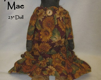 "Pearlie Mae---A Primitive 23"" Black Doll IMMEDIATELY DOWNLOADABLE EPATTERN"
