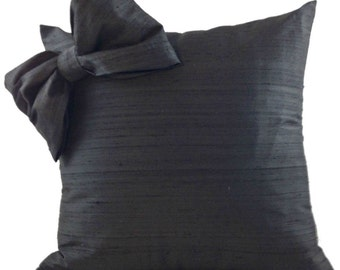 Black SILK Pillow Cover with Bow and Black Sofa Pillow in 18 inches, 20 inches