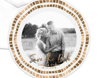 Save the Date Card, Wedding Save the Date, Save the Date Cards Photo Card Circle Card Die Cut Getting Married Save Our Date Gold Elegant