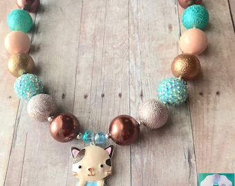 Cat - Cat Necklace - Kitty - Kitty Necklace - Cat with Fish - Fish Bowl - Cat Lover - Cat Mom - Pet Sitter - Chunky Bead Necklace