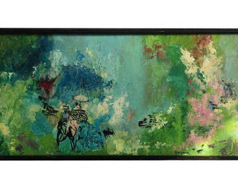 Vintage Abstract Painting on Board