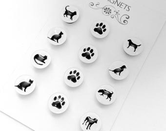 Set of 12 Glass Magnets - Paw Prints- Dog Silhouettes- Cat Silhouettes - perfect gift for pet sitter- pet owners