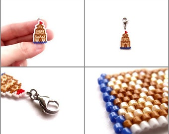 Hand Stitched Seed Bead Sand Castle Charm