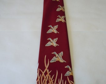Cool 1940s Duck Theme Rayon Satin Swing Tie