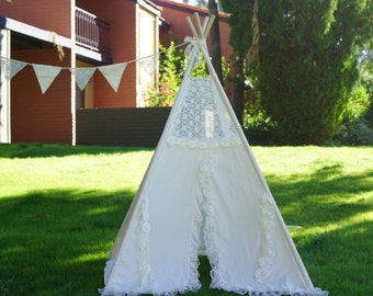 Hazy lace teepee, girls lace Play tent , Tipi Wigwam or Playhouse with lace trims