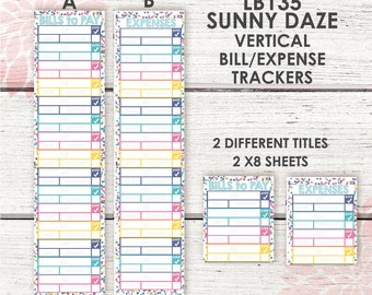 LB135 | Monthly Bill Expense Tracker Stickers | Sunny Daze Color Palette |