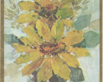 Birthday Card, Yellow flower blossoms, Gibson card, c1980s, good shape, with envelope, Vintage, Unused