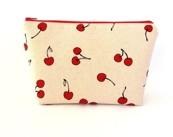 Cherry Cosmetic bag, Large makeup bag, Cosmetic pouch, Zipper makeup bag, Craft project bag, Mother's Day gift, Large zipper pouch, Mom gift