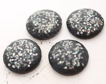 Vintage Lucite Round Cabochons - Black Textured, Abalone Inlay - 30mm - 4 Cabs