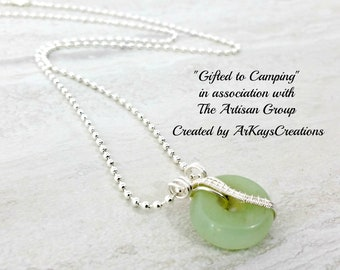 Aventurine Gemstone Necklace Wire Wrapped Pendant Donut Pendant Necklace Wire Wrapped Jewelry Green Necklace Gift for Her Gift for Mom