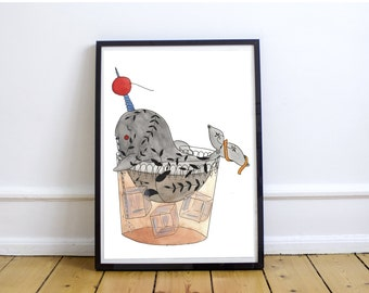 Narwhal Old Fashioned - Original Watercolor Illustration || Print