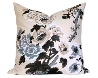 Pyne Hollyhock Charcoal Schumacher Designer Pillow Cover - Made-to-Order