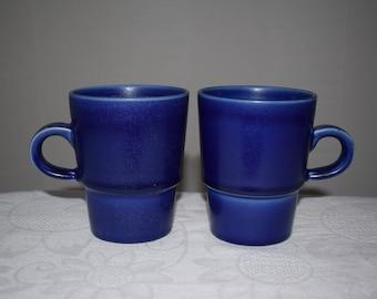Hoganas Keramik Set of 2 Swedish Vintage Stengods Stoneware. Blue Ceramics Relief Mugs, Cups. Made in Sweden. Kitchen tableware