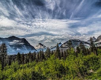 GLACIER NATIONAL PARK wild montana sky clouds mountains