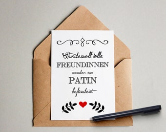 Wonderfully great friends are promoted to godmother-Greeting card-Postcard