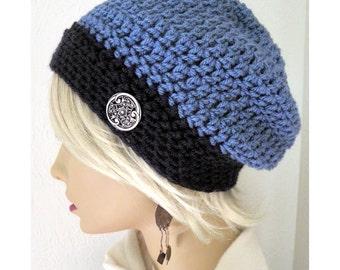 Tuque bleu, chapeau d'hiver, bonnet crocheté à la main, bonnet, tuque pour femmes, bonnet, chapeau avec bouton