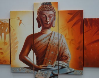 Buddha Orange Oil Painting Panel 5 Piece Set Perfect gift for mum