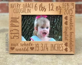 Personalized Baby Stats Picture Frame, Baby Picture Frame, Gift for New Baby, Baby Shower Gift, Baby Stats Gift, Custom Picture Frame