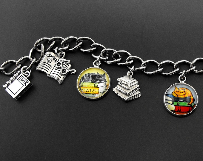 Cats and Books charm bracelet
