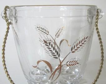 Glass Vintage Ice Bucket Gold Twisted Handle Wheat Pattern Amber Stripes Knob Bottom Retro Man Cave