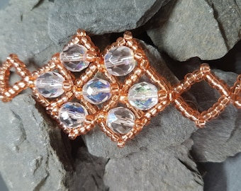Offset Squares Bracelet - Rosey Gold Seed Beads and Clear Crystals