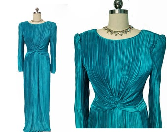 Vintage George F Couture Fortuny Look Pleated Evening Gown in Sea Goddess designer gown pleated evening gown teal evening gown
