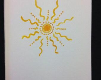 Summer Sun Watercolour Print Card - BLANK INSIDE