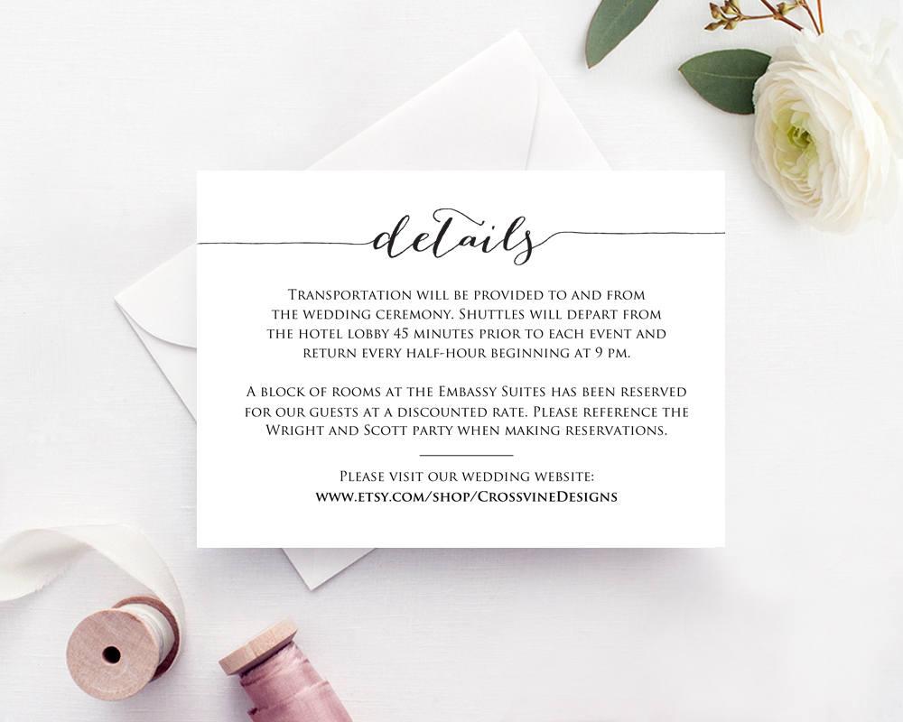 details card insert wedding information card template diy