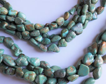Natural turquoise nuggets. Nevada Blue Green Turquoise. Genuine gemstone. Full strand