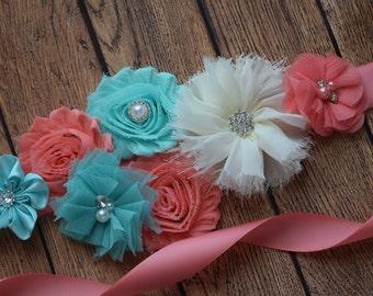 Sash, Aqua , coral and ivory Sash, #5 , flower Belt, maternity sash