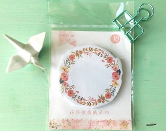 1 adhesive Notepad paper flower Crown with orange - stationary - office supplies