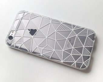 Geometric iPhone 7 Case iPhone 6 Case iPhone X Case iPhone 7 Plus Case iPhone 6 Plus Case iPhone 6s Case  iPhone 6s Plus Case Clear Grid
