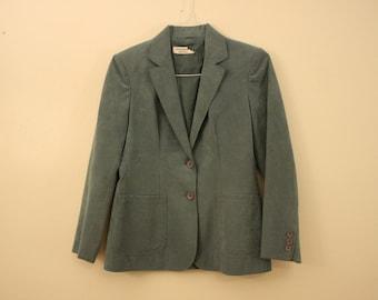 Muted Teal Ultra Suede Blazer Jacket *Flat Rate Shipping* [Cute Vintage Sportscoat Coat Officewear Women's Size Small]