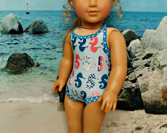 "Seahorse  Bathing Suit SwimSuit -- American Made to Fit Your 18"" Girl Doll"