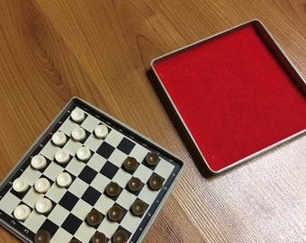 Vintage new Soviet checkers on magnets from the USSR