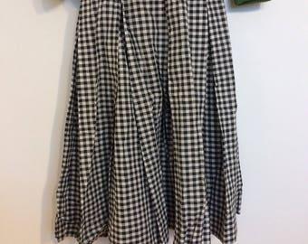 Vintage gingham pleated knee length skirt size small medium 8