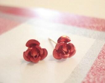 Red Rose Earrings Flower Stud Earrings Rose Jewelry Flower Earrings Valentines Day Jewelry