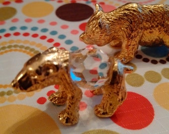 Grizzly & Polar Bear Solid Brass vintage miniatures