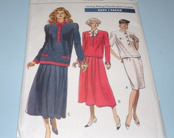 1989 VOGUE 7611 Top and Skirt Pattern size 12-16  UNCUT and Complete