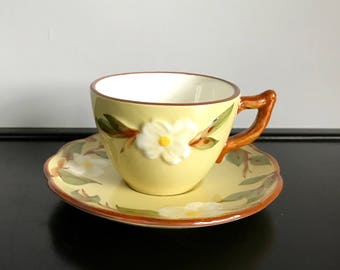 Stangl White Dogwood Cup and Saucer Set