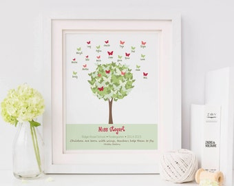 TEACHER Gift - Personalized Print with Student Names - Butterfly Tree Wall Art - Personalize with Name, School, Grade