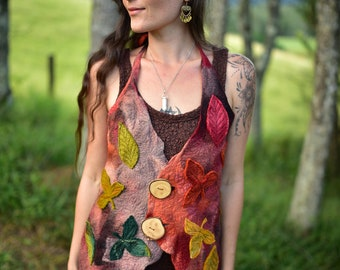 Felt Autumn Vest-Fairy Autumn Top-Felt Leaf Costume-Pixie Vest-Woodland Costume-Felt Leaf Top-Halter Vest-Fantasy Costume-Festival Wear OOAK