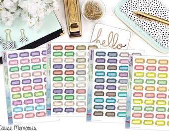FUNCTIONAL DOODLE BOXES Paper Planner Stickers - Mini Binder Sized/3 Hole Punched