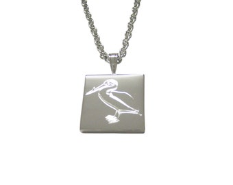 Silver Toned Etched Standing Pelican Bird Pendant Necklace