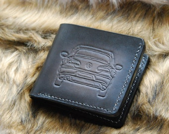Veg Tan Leather wallet for Men , natural leather,VW CC, handcrafted, ,VW wallet , classic bifold wallet,Fathers Day Gifts black ,Grey