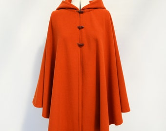 Wool and Cashmere Cape, Autumn Coat, Burnt Orange Cape, Wool Hooded Cloak, Plus Size Cape Coat, Wool Hooded Poncho