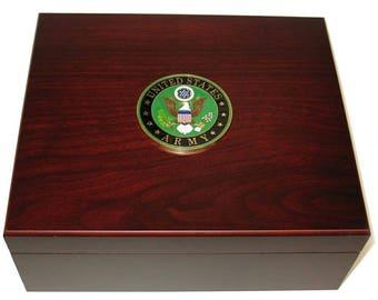 Custom Logo US Army USA 50 Cigar Humidor Gift Display