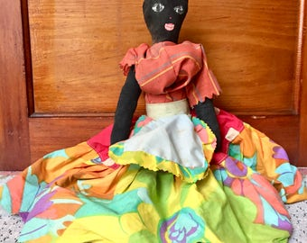 Vintage Doll Jamaican Doll Jamaican Art African American Doll Collectible Doll Folk Art Doll Collection Cloth Doll Collector Gift for Her