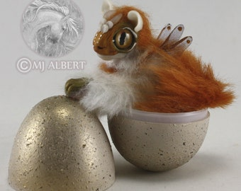 Poseable Dragon Doll Hatchling Hatching Egg Handmade Creature Baby Fantasy Animal Mini Gift Mjalbertsculpts